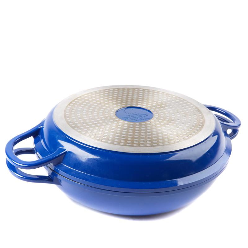 Curtis Stone Dura-Pan Nonstick 4-Quart Multi-Function Pan w/Grill Lid-Blue-Daily Steals
