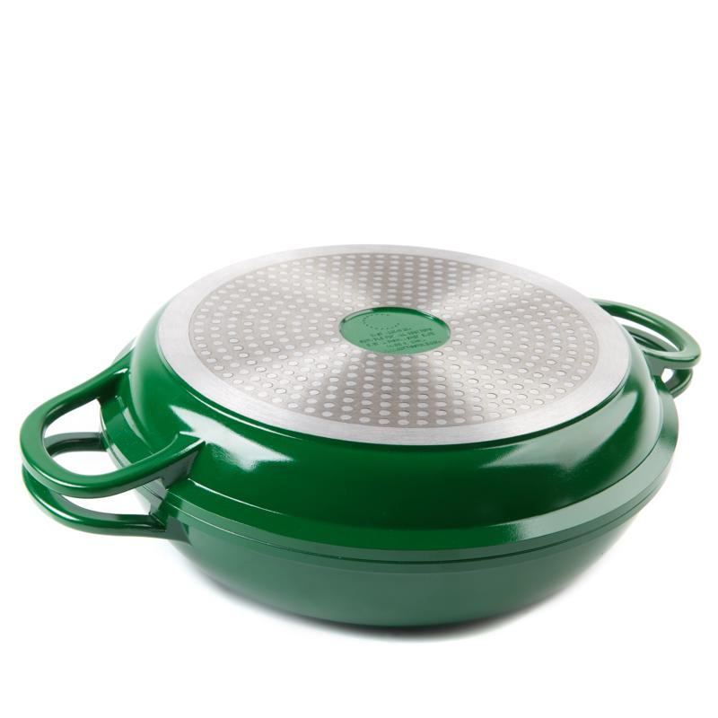 Curtis Stone Dura-Pan Nonstick 4-Quart Multi-Function Pan w/Grill Lid-Green-Daily Steals