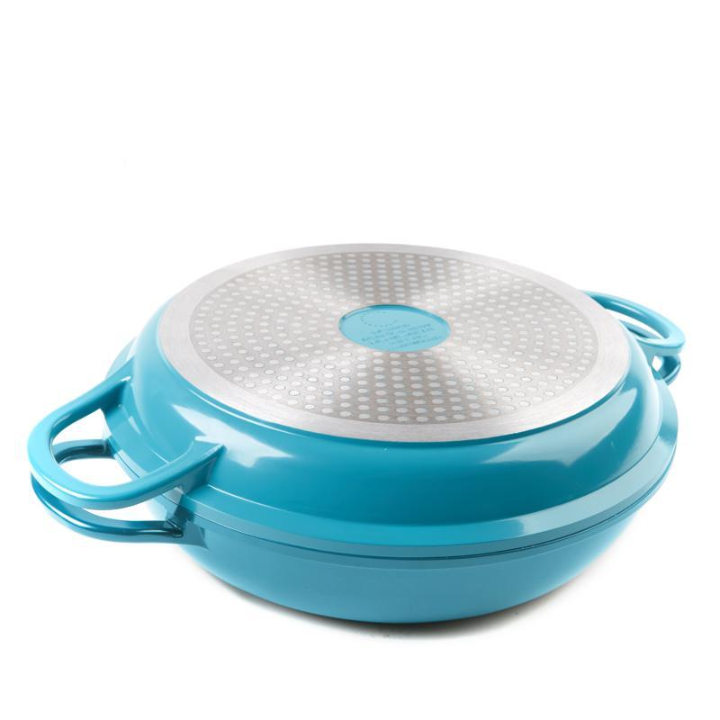 Curtis Stone Dura-Pan Nonstick 4-Quart Multi-Function Pan w/Grill Lid-Turquoise-Daily Steals