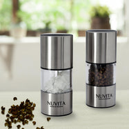 Nuvita Premium Stainless Steel Mini Salt and Pepper Grinders - 2 Pack-Daily Steals