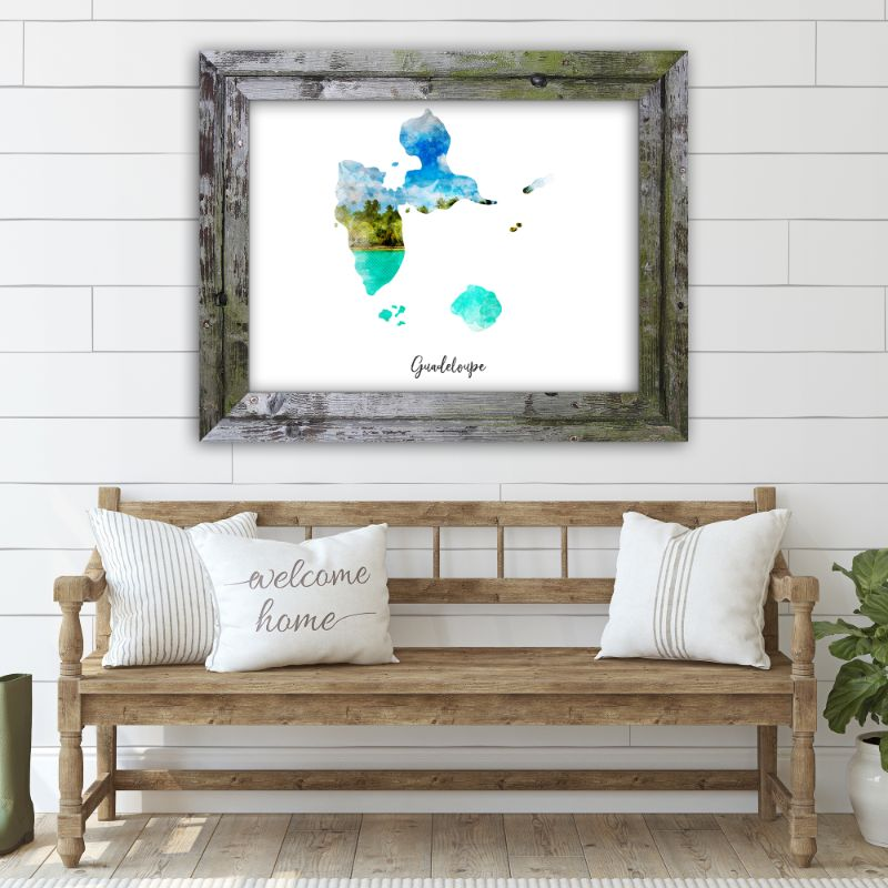 "Guadeloupe Watercolor Map Print - Unframed Art Print-10""x8""-Horizontal/Landscape-Daily Steals"