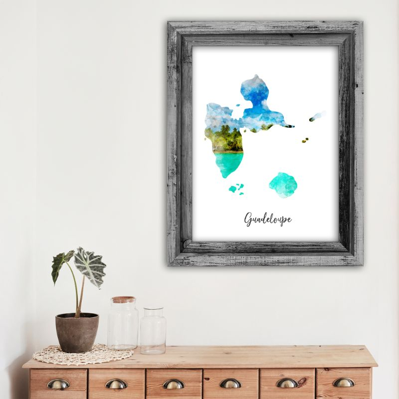 "Guadeloupe Watercolor Map Print - Unframed Art Print-5""x7""-Vertical/Portrait-Daily Steals"