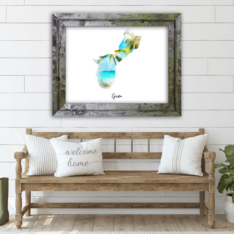 "Guam Watercolor Map Print - Unframed Art Print-19""x13""-Horizontal/Landscape-Daily Steals"