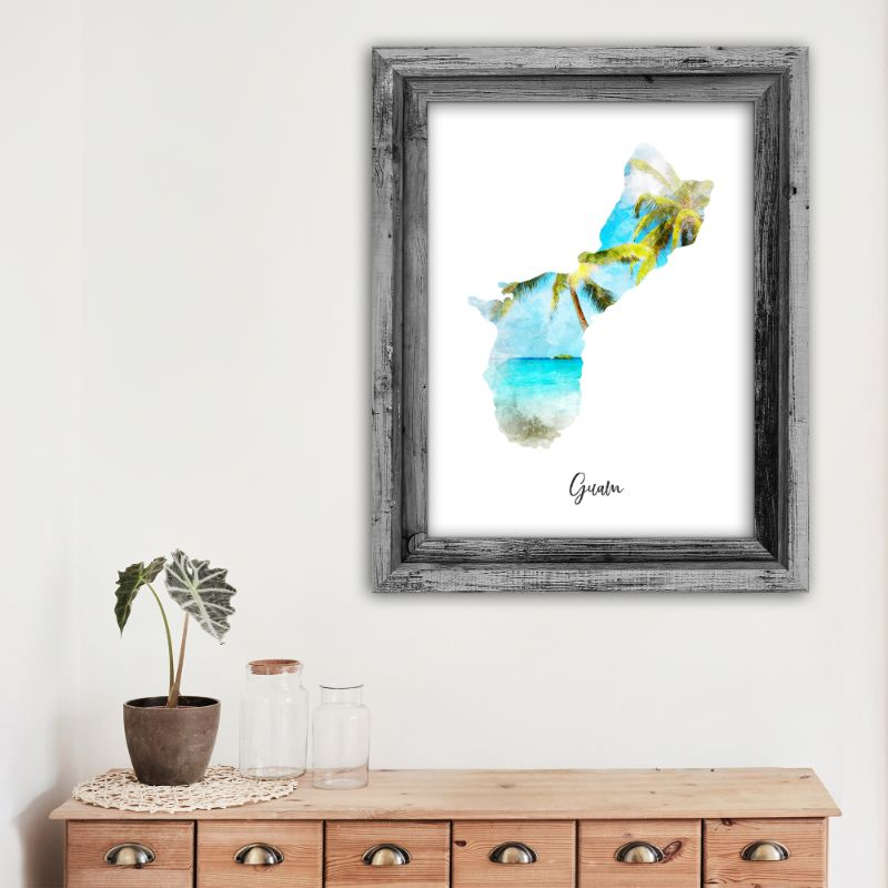 "Guam Watercolor Map Print - Unframed Art Print-12""x18""-Vertical/Portrait-Daily Steals"