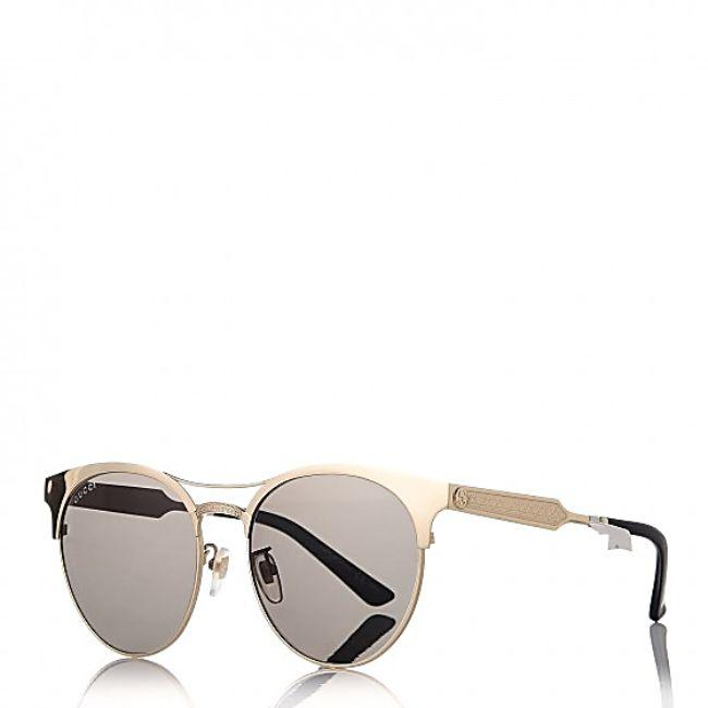 Gucci Gold Frame & Green Lens Women's Round Sunglasses - Side