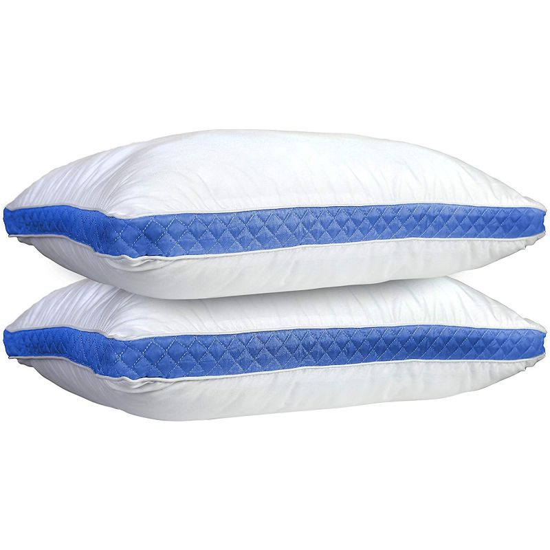 Lux Decor Collection Gusseted Quilted Bed Pillows - 2 Pack-White/Blue-King-Daily Steals