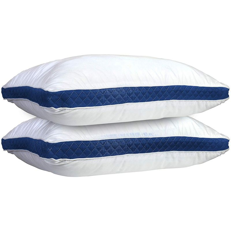 Lux Decor Collection Gusseted Quilted Bed Pillows - 2 Pack-Navy/White-Queen-Daily Steals