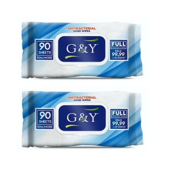 G&Y Anti-Bacterial Wipes 90 Sheets - 2 Pack-