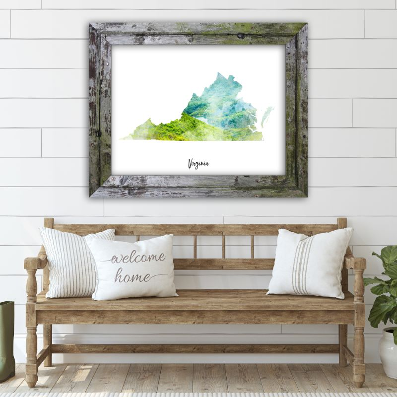 "Virginia Watercolor Map Print - Unframed Art Print-14""x11""-Horizontal/Landscape-Daily Steals"