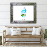 "St. Lucia Watercolor Map Print - Unframed Art Print-18""x12""-Horizontal/Landscape-Daily Steals"
