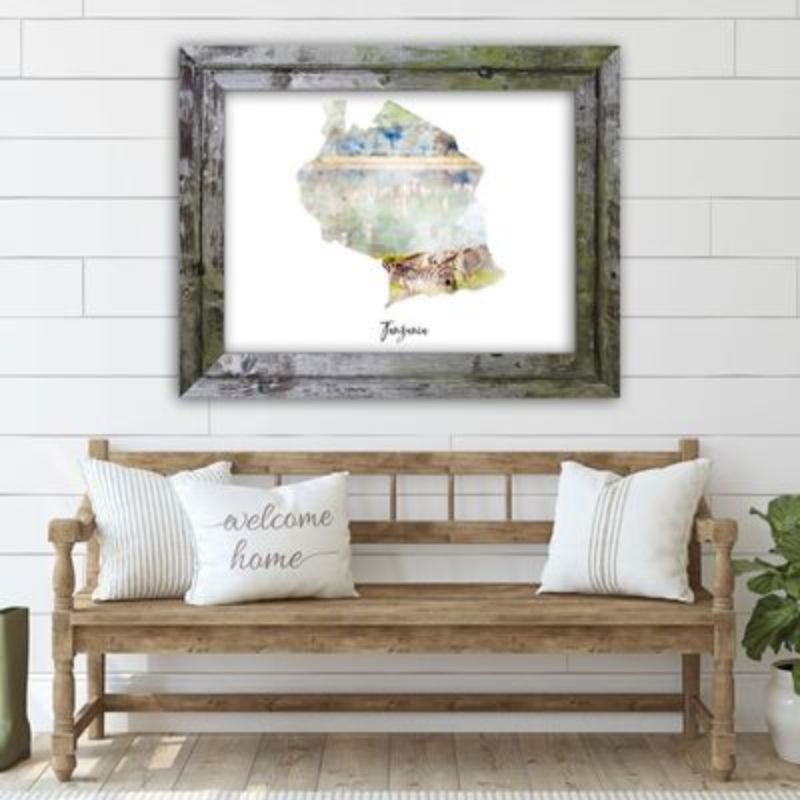 "Tanzania Watercolor Map Print - Unframed Art Print-14""x11""-Horizontal/Landscape-Daily Steals"