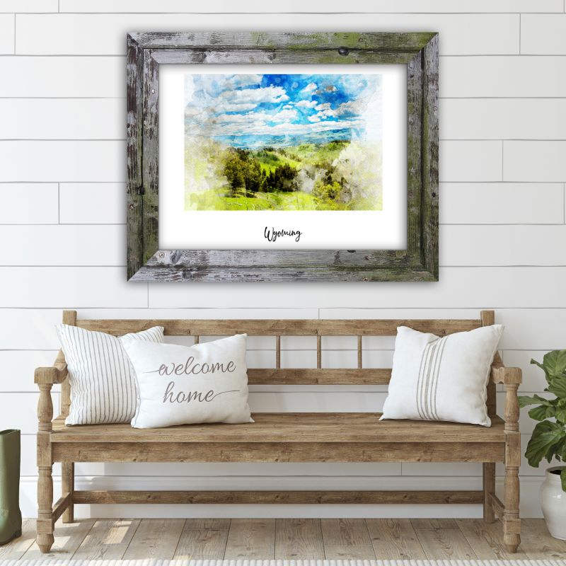 "Wyoming Watercolor Map Print - Unframed Art Print-18""x12""-Horizontal/Landscape-Daily Steals"