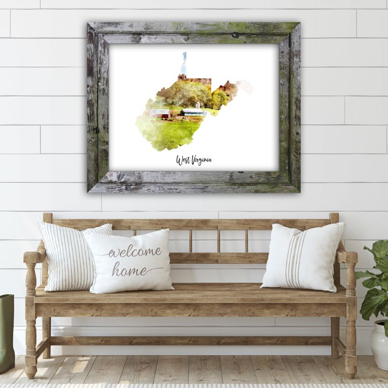 "West Virginia Watercolor Map Print - Unframed Art Print-7""x5""-Horizontal/Landscape-Daily Steals"