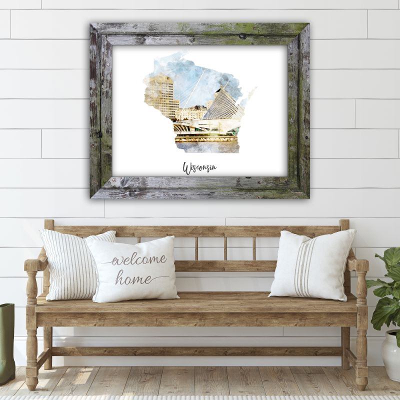 "Wisconsin Watercolor Map Print - Unframed Art Print-14""x11""-Horizontal/Landscape-Daily Steals"