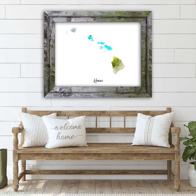 "Hawaii Watercolor Map Print - Unframed Art Print-14""x11""-Horizontal/Landscape-Daily Steals"