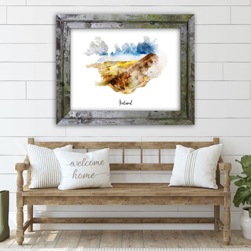 "Iceland Watercolor Map Print - Unframed Art Print-10""x8""-Horizontal/Landscape-Daily Steals"