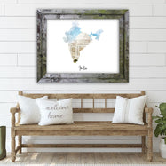 "India Watercolor Map Print - Unframed Art Print-18""x12""-Horizontal/Landscape-Daily Steals"