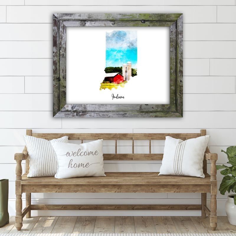 "Indiana Watercolor Map Print - Unframed Art Print-14""x11""-Horizontal/Landscape-Daily Steals"