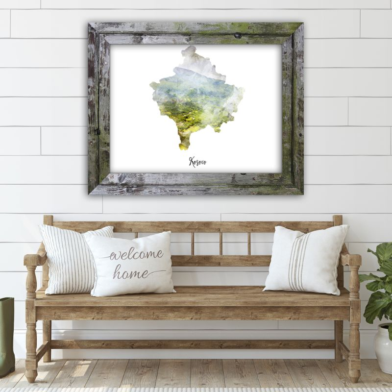 "Kosovo Watercolor Map Print - Unframed Art Print-14""x11""-Horizontal/Landscape-Daily Steals"