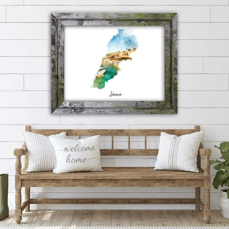 "Lebanon Watercolor Map Print - Unframed Art Print-19""x13""-Horizontal/Landscape-Daily Steals"