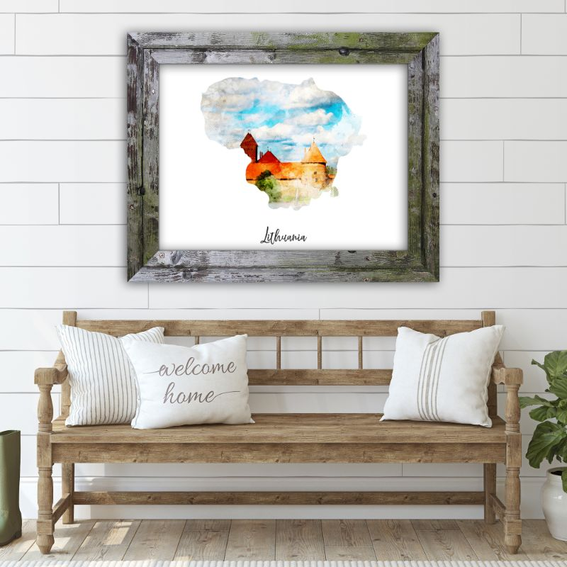 "Lithuania Watercolor Map Print - Unframed Art Print-19""x13""-Horizontal/Landscape-Daily Steals"