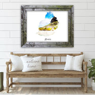 "Mauritius Watercolor Map Print - Unframed Art Print-7""x5""-Horizontal/Landscape-Daily Steals"