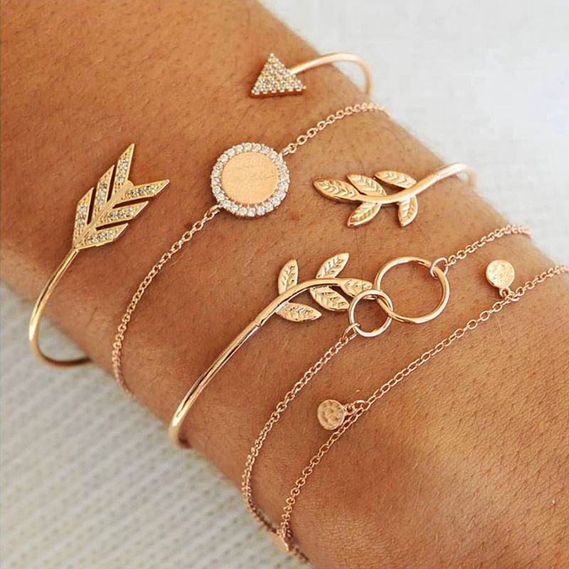 Pav'e Olive Branch in Plated 14k Yellow Gold Bracelet Set - 5 Pieces-Daily Steals