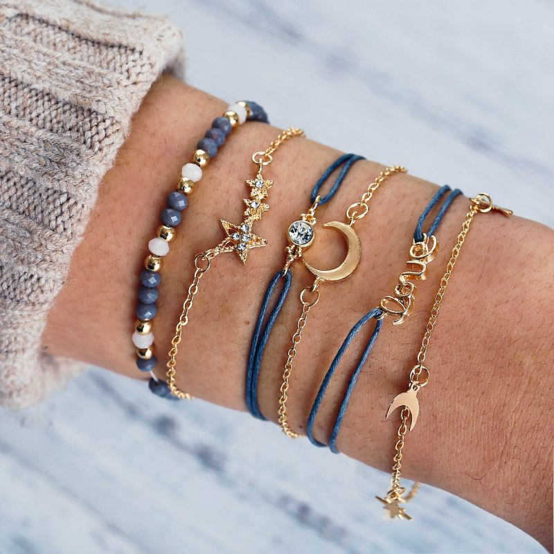 Blue and Yellow Gold Love Stars and Moon Bracelet Set - 6 Pieces-Daily Steals