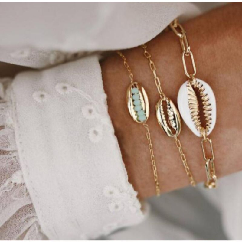 Turquoise Sea Shell Bracelets Set in 14K Gold - 3 Pieces-Daily Steals