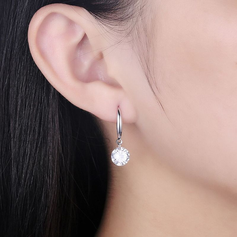 Drop Crystals Earrings in 18k White Gold Filled-Daily Steals