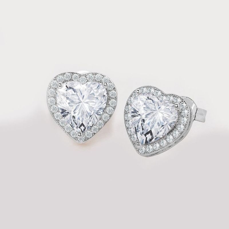 Pave Halo Heart Earrings Embellished With Crystals In 18k White Gold Filled-Daily Steals