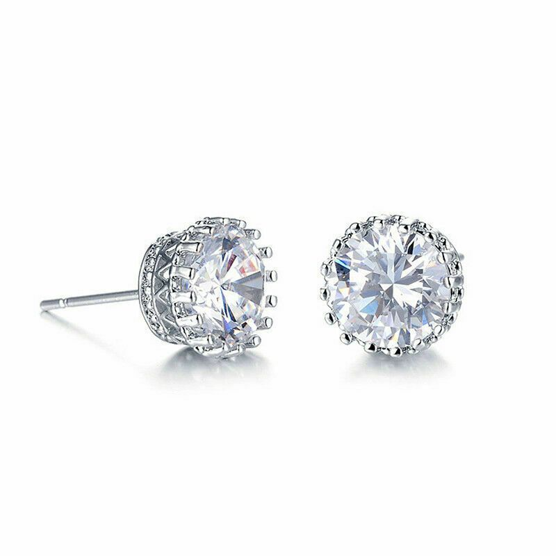Pave Halo Round Earrings Embellished With Crystals In 18k White Gold Filled-Daily Steals