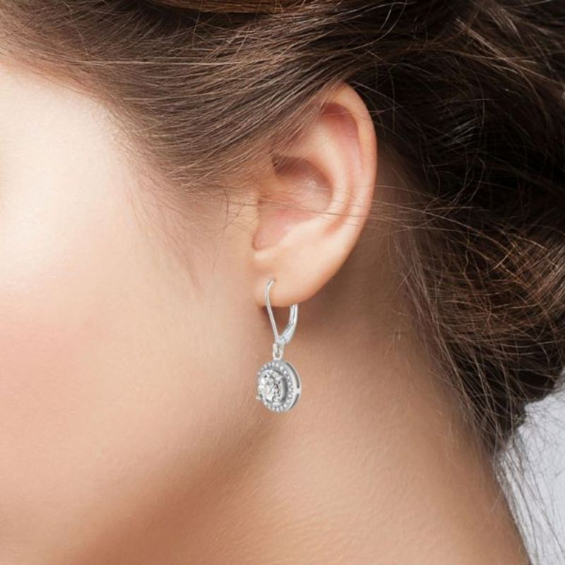 Genuine Crystal Halo Leverback Earrings Plated in 18K White Gold-Daily Steals