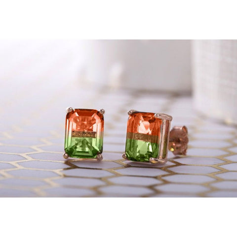 """Red and Green"" - Emerald Cut 2 CT Stud Earrings Made with Swarovski Crystals-Daily Steals"