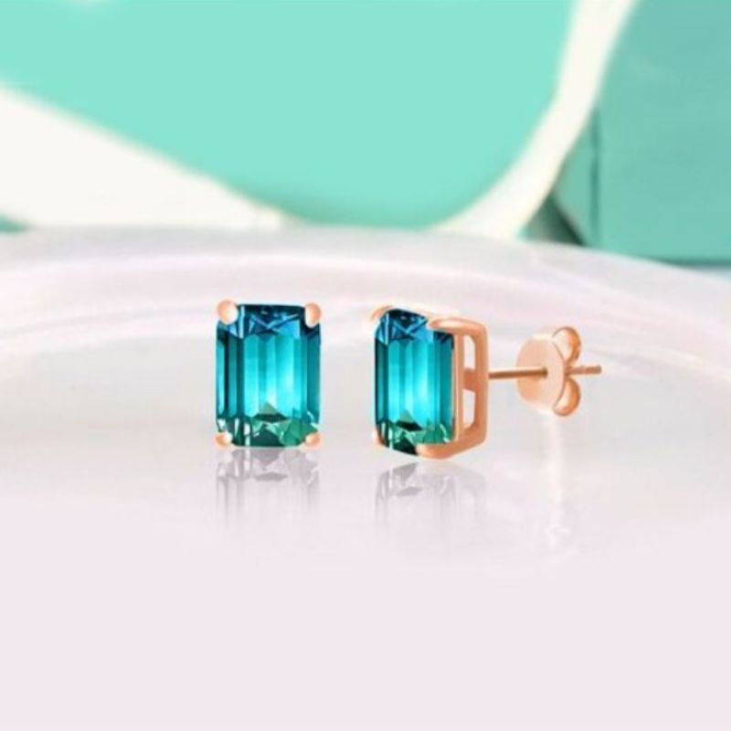5.00 Ctw Emerald Cut White And Blue Topaz Earrings in 18k Rose Gold Filled-Daily Steals