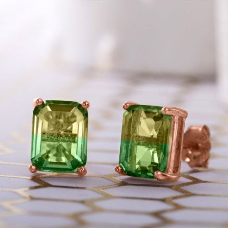 5.00 Ctw Emerald Cut Citrine/Emerald Stud Earrings in 18k Rose Gold Filled-Daily Steals
