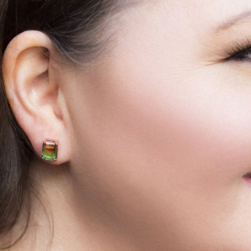 """Green"" - Emerald Cut Bi Color 2CT Stud Earrings Made with Swarovski Crystals-Daily Steals"