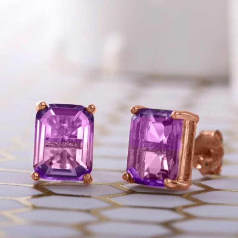 """Purple"" - Emerald Cut Bi Color 2CT Stud Earrings Made with Swarovski Crystals-Daily Steals"