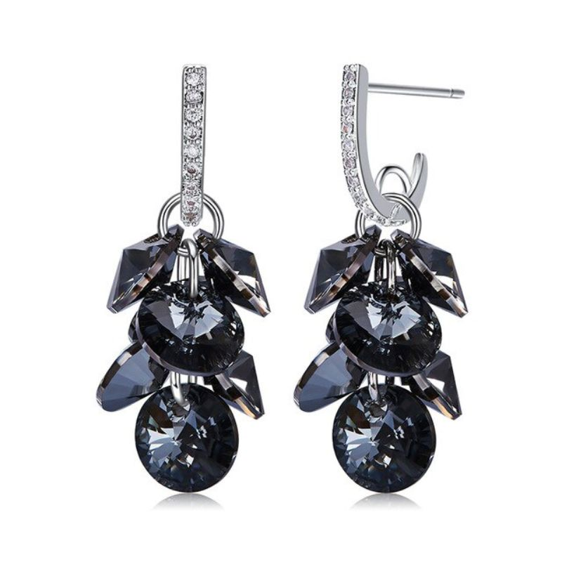 Onyx Stone Grape Drop 18K White Gold Filled-Daily Steals