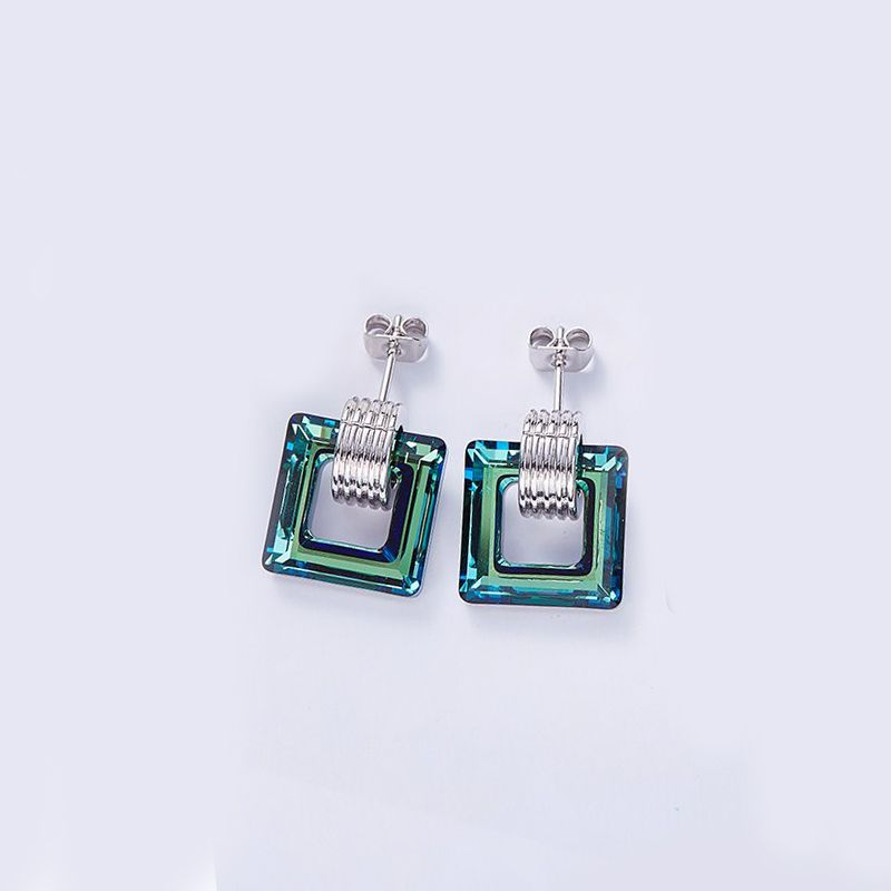 18K White Gold Plated Earrings- Aqua Adorned with Crystals-Daily Steals