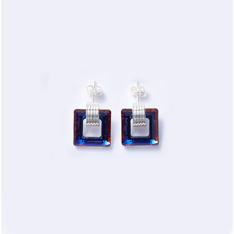 Square Royal Dark Blue Stud 18K White Gold Filled-Daily Steals