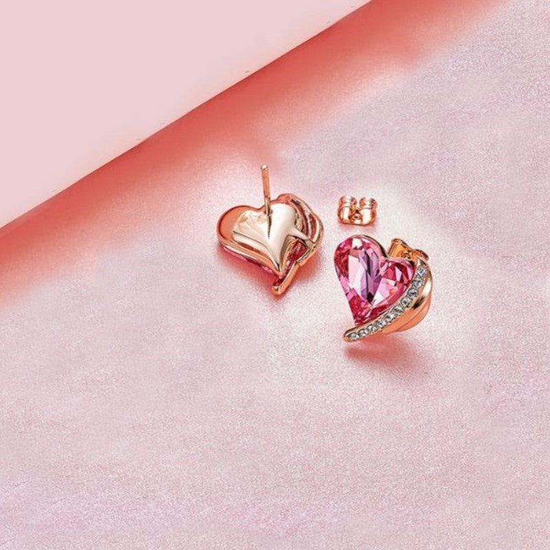Pink Topaz Heart Stud Earrings in 18K White Gold Filled-Daily Steals