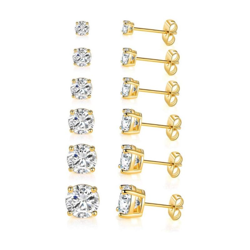 18K Gold Filled 4 Prong Solitaire Swarovski Crystal Stud Earrings - 6 Pack-Yellow Gold-Daily Steals
