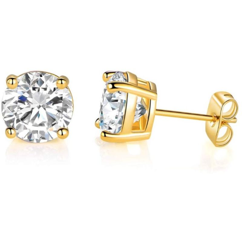 18K Gold Filled 4 Prong Solitaire Swarovski Crystal Stud Earrings - 6 Pack-Daily Steals