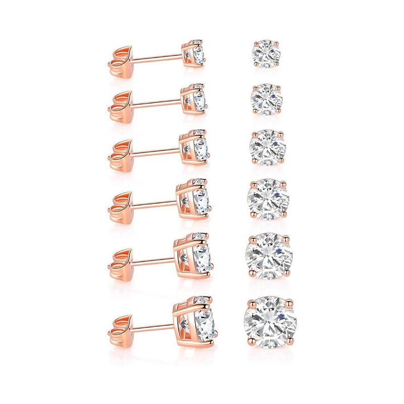 18K Gold Filled 4 Prong Solitaire Swarovski Crystal Stud Earrings - 6 Pack-Rose Gold-Daily Steals