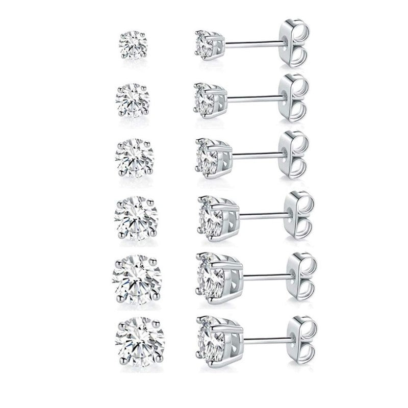 18K Gold Filled 4 Prong Solitaire Swarovski Crystal Stud Earrings - 6 Pack-White Gold-Daily Steals