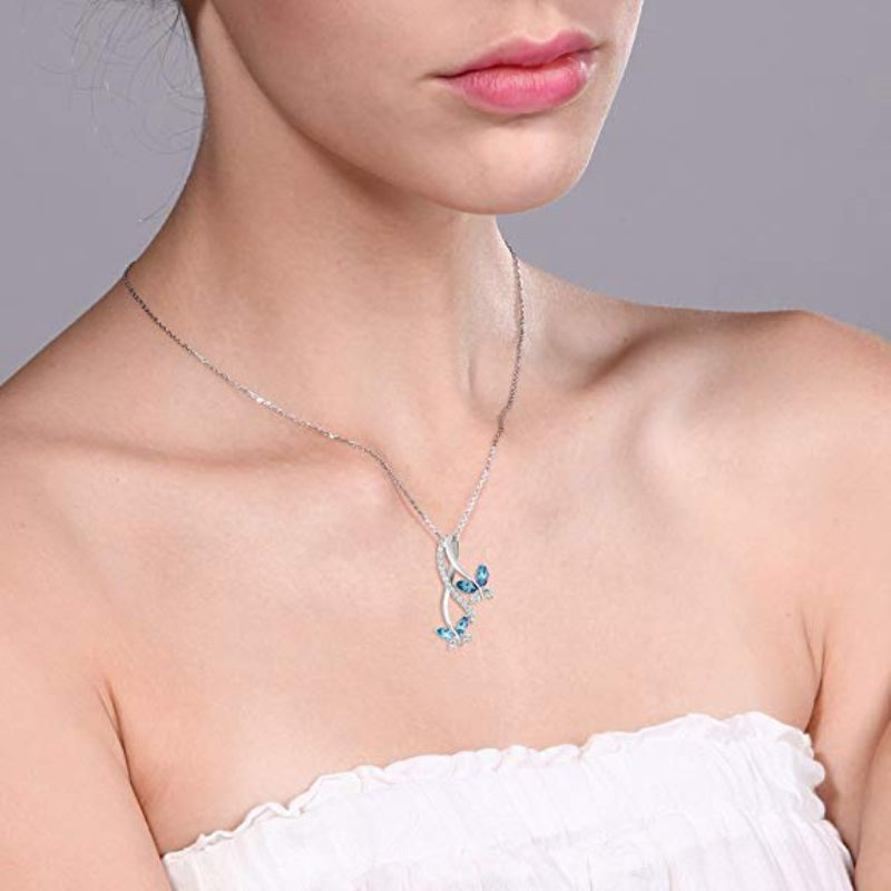 Mother And Child Butterfly Blue Topaz Necklace in 18k White Gold Filled-Daily Steals
