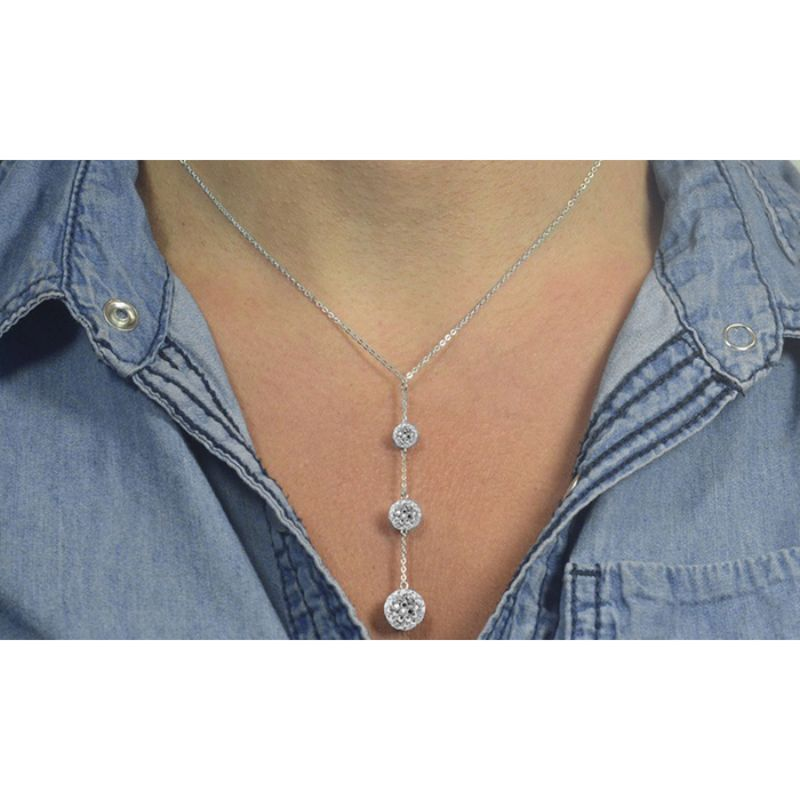 18k White Gold Filled Triple Embellished With Crystals Ball Drop Necklace-Daily Steals