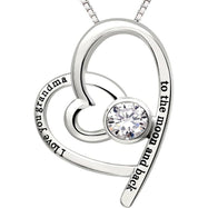 I Love You Grandma to the moon and back - Pave Heart Necklace Made with Swarovski Crystals-Daily Steals