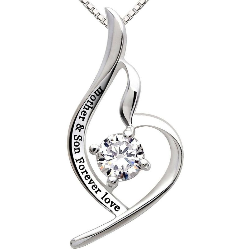 Mother and Son Forever Love - Pave Heart Necklace Made with Swarovski Crystals-Daily Steals